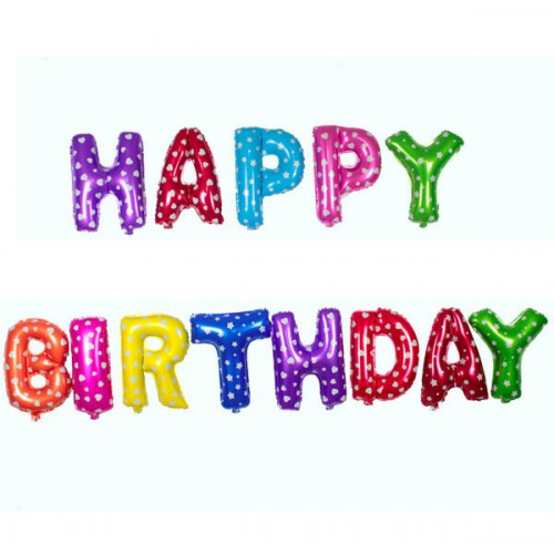 Polka Dot Happy Birthday Letter Air Foil Balloon Set